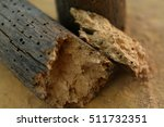 Crumbled piece of wood decayed by woodworms