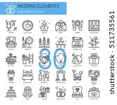 wedding elements   thin line... | Shutterstock .eps vector #511735561