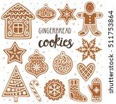 vector set of gingerbread... | Shutterstock .eps vector #511753864
