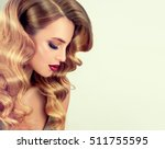 beautiful girl with long wavy... | Shutterstock . vector #511755595