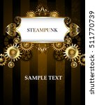 Vintage banner with a gold pattern on a dark striped background with gold and bronze gears. Steampunk background.