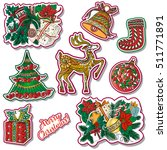 fashion patches with christmas... | Shutterstock .eps vector #511771891
