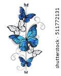 Composition Of Blue Butterflie...