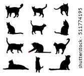 vector silhouettes of house cats | Shutterstock .eps vector #511774195
