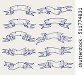 hand drawn ribbons set. ball... | Shutterstock .eps vector #511774831