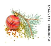 Small photo of Christmas decoration isolated on white background