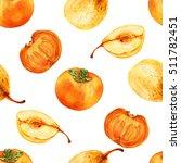 watercolor persimmon  pear hand ... | Shutterstock . vector #511782451
