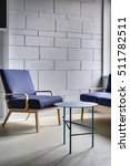blue armchair and a sofa with... | Shutterstock . vector #511782511