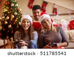young friends having fun and... | Shutterstock . vector #511785541