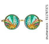 hand drawn hippie sun glasses... | Shutterstock .eps vector #511787371