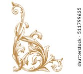 gold vintage baroque corner... | Shutterstock .eps vector #511799635