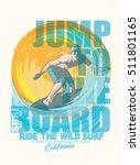 surf. vintage surf print. tee... | Shutterstock .eps vector #511801165