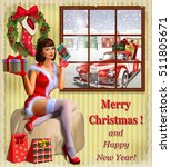 christmas pin up girl with gift ... | Shutterstock .eps vector #511805671