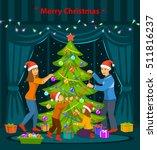 family christmas evening scene. ... | Shutterstock .eps vector #511816237