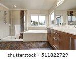 white modern bathroom interior  ... | Shutterstock . vector #511822729