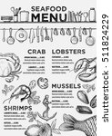 seafood menu placemat food... | Shutterstock .eps vector #511824229