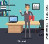 office worker in boss cabinet.... | Shutterstock .eps vector #511834051