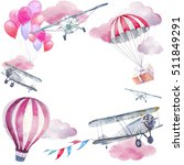 watercolor festive sky frame.... | Shutterstock . vector #511849291