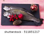 Trout On The Plate With Holida...