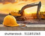 yellow hard hat on construction ... | Shutterstock . vector #511851565