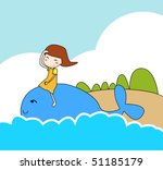 girl play with blue whale | Shutterstock .eps vector #51185179