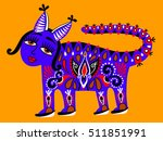fantastic ethnic folk animal on ... | Shutterstock .eps vector #511851991
