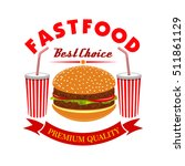 cheeseburger and soda drink for ... | Shutterstock .eps vector #511861129