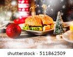 closeup image of hamburger on... | Shutterstock . vector #511862509
