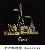 paris city golden architecture... | Shutterstock .eps vector #511864729