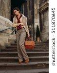 woman fall fashion. beautiful...   Shutterstock . vector #511870645