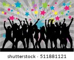 dancing people silhouettes.... | Shutterstock .eps vector #511881121