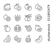 basic fruits thin line icons... | Shutterstock .eps vector #511892479