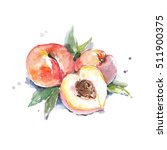 juicy peach with splashes. | Shutterstock . vector #511900375