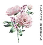 Stock photo watercolor flowers floral illustration flower in pastel colors pink rose branch of flowers 511903441