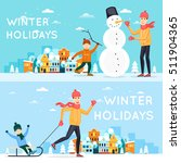 father and son sculpt snowman.... | Shutterstock .eps vector #511904365