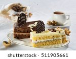 piece of cake with tea for a... | Shutterstock . vector #511905661