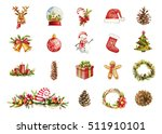 watercolor christmas icons with ... | Shutterstock . vector #511910101