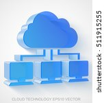 cloud technology icon  extruded ... | Shutterstock .eps vector #511915255