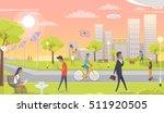 people entertain in park. speak ... | Shutterstock .eps vector #511920505
