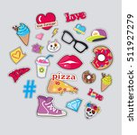 Set Of Stickers Patch Isolated...