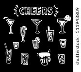 hand drawn set cheers  toasting ... | Shutterstock .eps vector #511943809