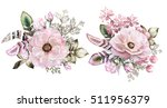 set of watercolor vintage... | Shutterstock . vector #511956379