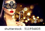 sexy model woman with glass of... | Shutterstock . vector #511956835