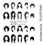 twenty silhouettes hairstyles | Shutterstock .eps vector #511957669
