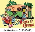 santa claus have a rest.caravan ... | Shutterstock .eps vector #511965649