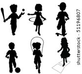 silhouettes children playing | Shutterstock .eps vector #51196807