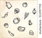 set of food hand drawn doodles. ...