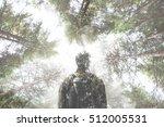 double exposure hiker walking... | Shutterstock . vector #512005531