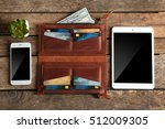 leather wallet and modern... | Shutterstock . vector #512009305