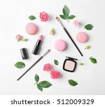 makeup cosmetic with macaroons... | Shutterstock . vector #512009329